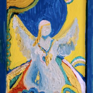 Angel, Painting, blue, art, fine art, spiritual, peace, protection