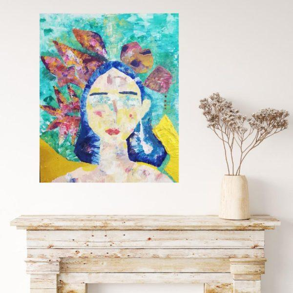 art, painting, girl, gift